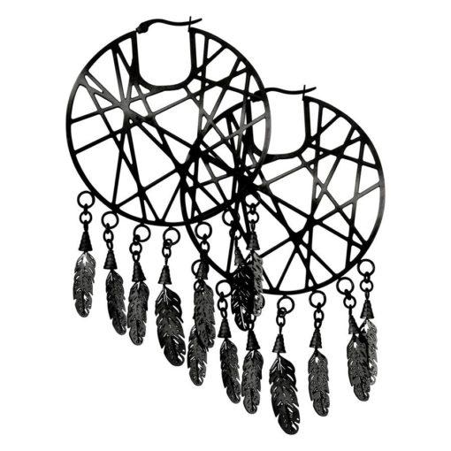 Black Dreamcatcher Hoops