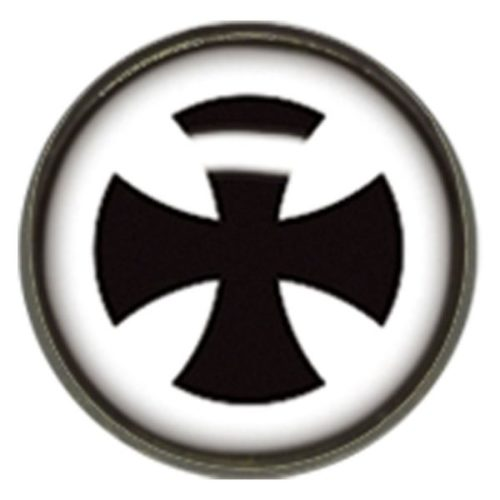 "Titan Blackline® Internally Threaded Ikon Disk ""Black Cross on White"""