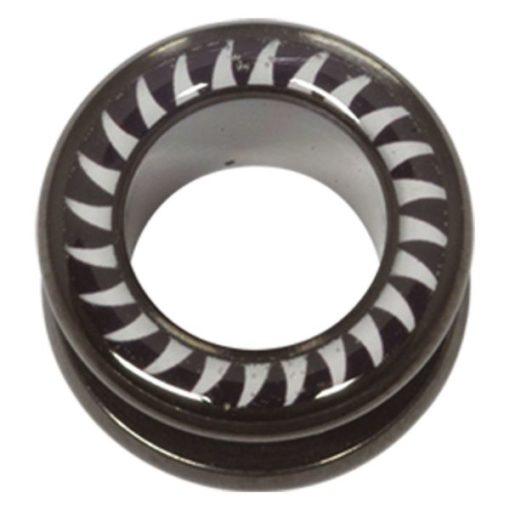 Steel Blackline® Halo Flesh Tunnel Shark Tooth White Black