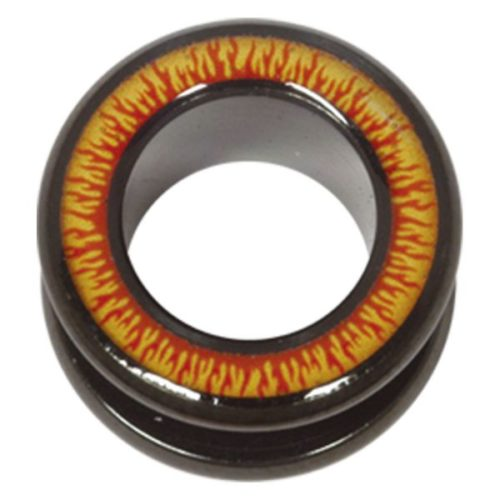 Steel Blackline® Halo Flesh Tunnel Flames Red Yellow