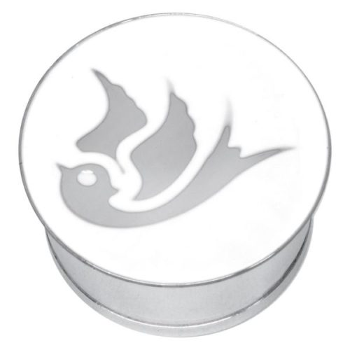 "Steel Basicline® Single Flared Impression Plug ""Swallow on White"""