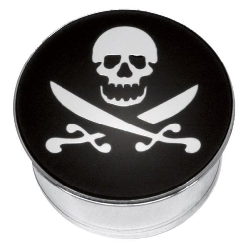 "Steel Basicline® Single Flared Impression Plug ""Skull and Cutlass on Black"""