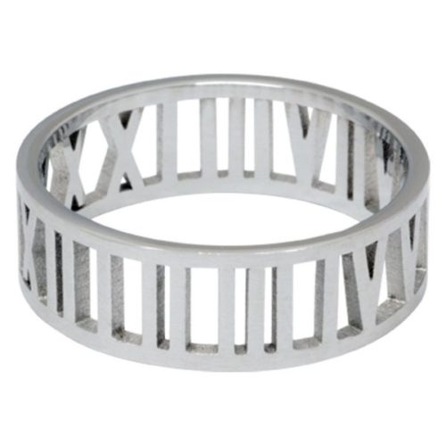 Steel Basicline® Roman Numbers Ring