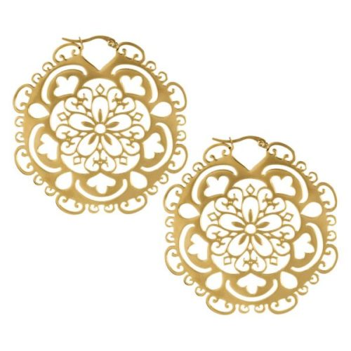 Steel Zirconline® Flower Hoop Gold