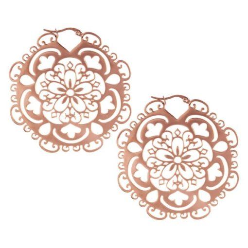 Steel Roseline® Flower Hoop Rose Gold